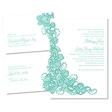 Lacy Details 3 for 1 Vintage Wedding Invitation
