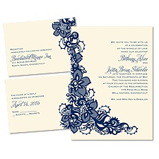 Lacy Details Ecru 3 for 1 Vintage Wedding Invitation