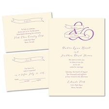 Modern Monogram - Ecru - 3 for 1 Invitation