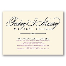 Love & Friendship Ecru Wedding Invitation