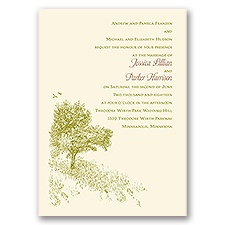Hillside Getaway Ecru Wedding Invitation
