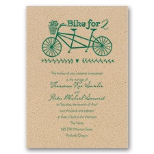 Bikes for 2 Kraft Wedding Invitation