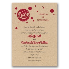 Love for Retro Kraft Wedding Invitation