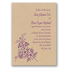 Charming Wildflowers Kraft Wedding Invitation