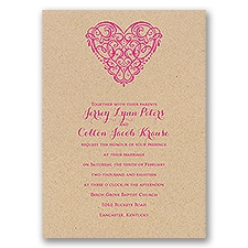 Full of Love Kraft Wedding Invitation