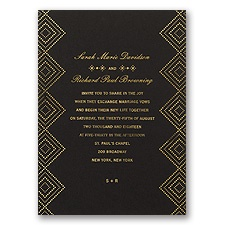Modern Deco Foil Gold Wedding Invitation