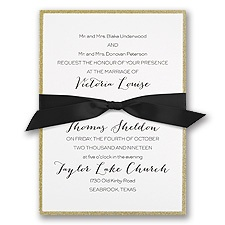Golden Glow Gold Wedding Invitation
