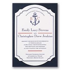 Seafaring Love Blue Wedding Invitation
