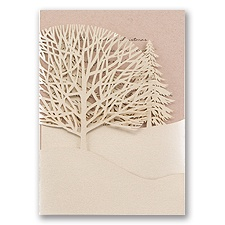 Trees of Gold Kraft Laser Cut Wedding Invitation