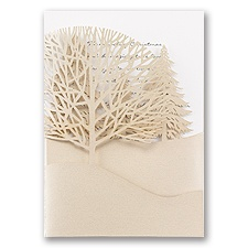 Trees of Gold White Laser Cut Wedding Invitation
