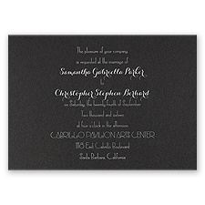 Effortless Beauty Black Shimmer Foil Wedding Invitation