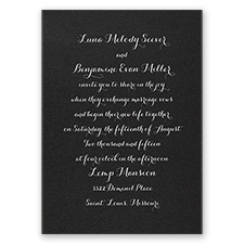 Simply Stunning Black Shimmer Foil Wedding Invitation