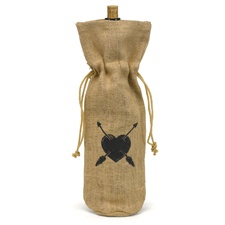 Heart and Arrow Burlap Wine Bags