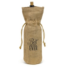 Best Day Ever Burlap Wine Bags