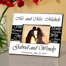 Mr. and Mrs. Black and White Wedding Frame