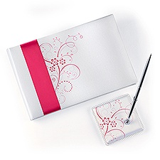 Pink Floral Guest Book and Pen