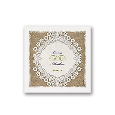 Embroidered Embrace - White Cocktail Napkin