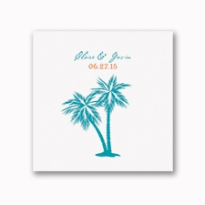 Tropical Palms - White Dinner Napkin