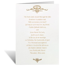 Love, Loyalty, Friendship Gold Wedding Invitation