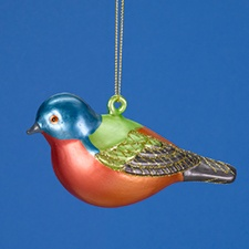 Painted Bunting Glass Ornament