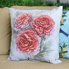 Painted Peony Pillow