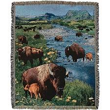 Bison Gathering Tapestry Throw