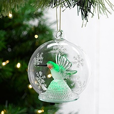 Hummingbird Clear Glass Ornament