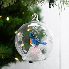 Bluebird Clear Glass Ornament