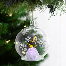 Goldfinch Clear Glass Ornament