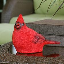 Cardinal Chirping Garden Statue