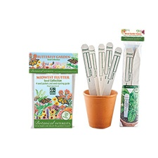 Midwest Flutter Butterfly Garden Seed Collection with Garden Stakes