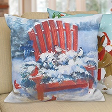 Red Chair In Winter Pillow