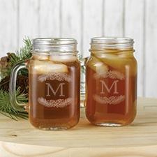 Pine Cone Monogram Drinking Jars