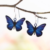 Shimmering Blue Butterfly Earrings