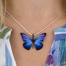 Shimmering Blue Butterfly Necklace