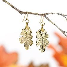 Gold Oak Earrings