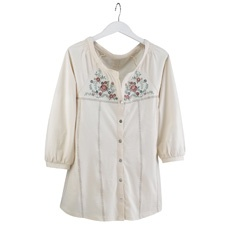 Embroidered Parchment Floral Tunic