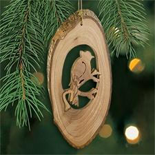 Cardinal Olive Wood Ornament