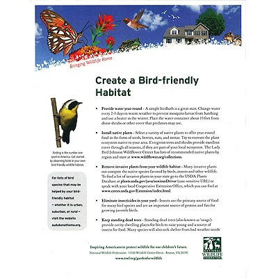 Checklist for a Bird-Friendly Yard Tip Sheet