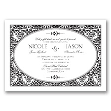 Joyful Damask - Black - Invitation