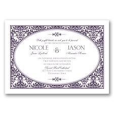 Joyful Damask - Plum - Invitation
