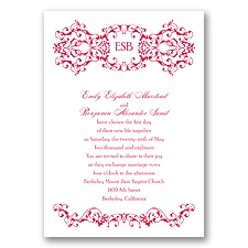 Ornate Date - Poppy - Invitation