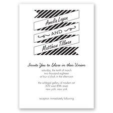 Stripes & Banners - Black - Invitation