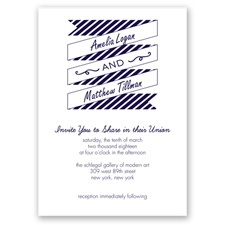 Stripes & Banners - Lapis - Invitation