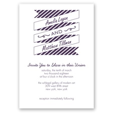 Stripes & Banners - Plum - Invitation