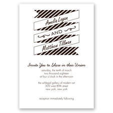 Stripes & Banners - Chocolate - Invitation