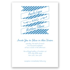 Stripes & Banners - Cornflower - Invitation