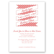Stripes & Banners - Guava - Invitation