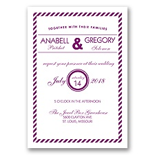 Typography Stripe - Sangria - Invitation
