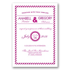 Typography Stripe - Begonia - Invitation